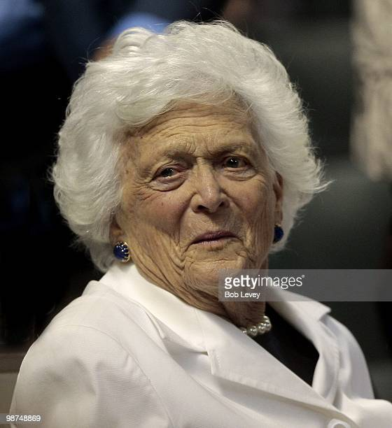 Former first lady Barbara Bush takes in a baseball game between the Cincinnati Reds and the Houston Astros at Minute Maid Park on April 28 2010 in...