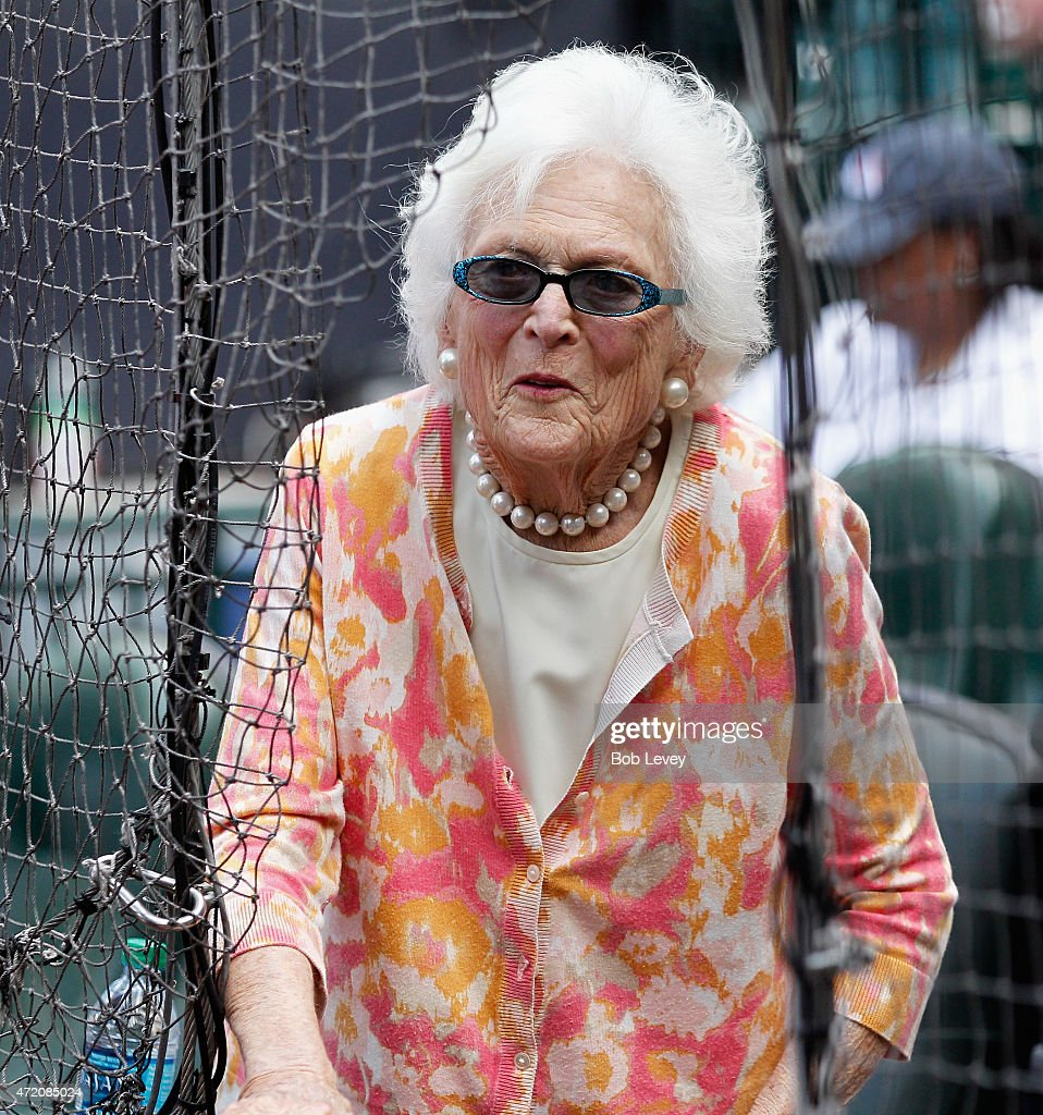 Former First Lady Barbara Bush takes in the baseball game between the Seattle Mariners and the Houston Astros at Minute Maid Park on May 3 2015 in...