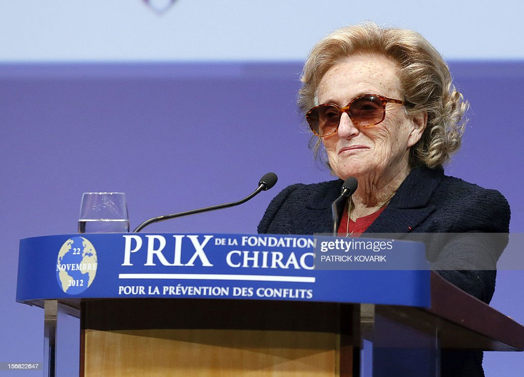 Former First lady, Bernadette Chirac delivers a speech during the ceremony of release of the Jacques Chirac Foundation's 2012 Award for the prevention of conflicts, on November 22, 2012 at the Quai Branly Museum in Paris.