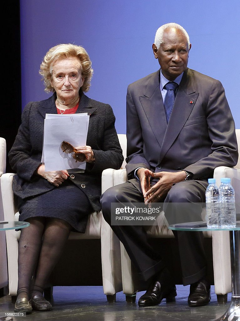 Former First lady, Bernadette Chirac (L) next to Secretary General of the International Francophonie Organization (OIF), Abdou Diouf, attends the ceremony of release of the Jacques Chirac Foundation's 2012 Award for the prevention of conflicts, on November 22, 2012 at the Quai Branly Museum in Paris. AFP PHOTO PATRICK KOVARIK