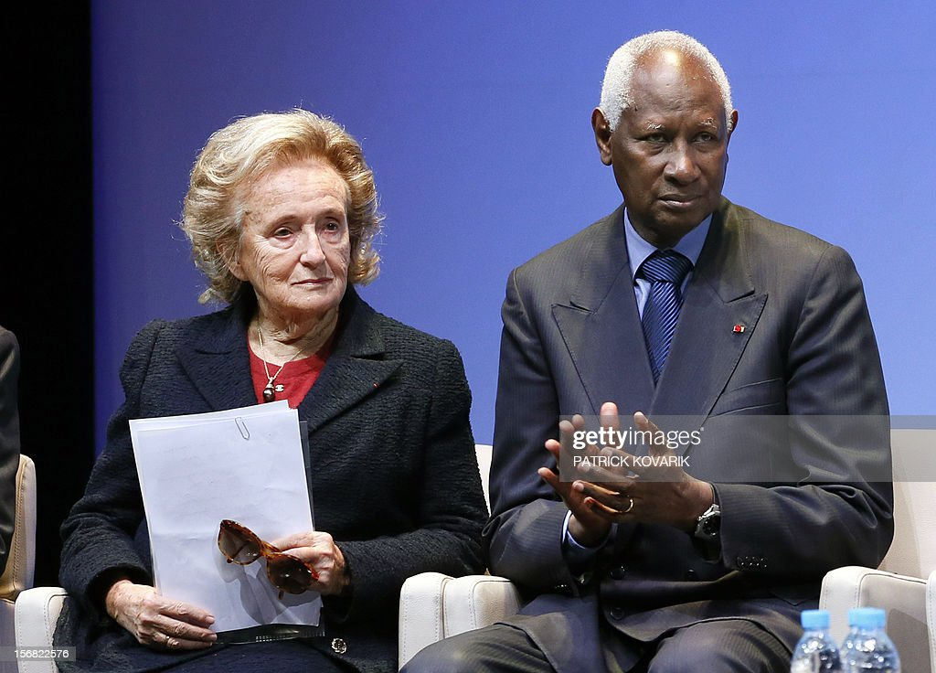 Former First lady, Bernadette Chirac (L) next to Secretary General of the International Francophonie Organization (OIF), Abdou Diouf, attends the ceremony of release of the Jacques Chirac Foundation's 2012 Award for the prevention of conflicts, on November 22, 2012 at the Quai Branly Museum in Paris.