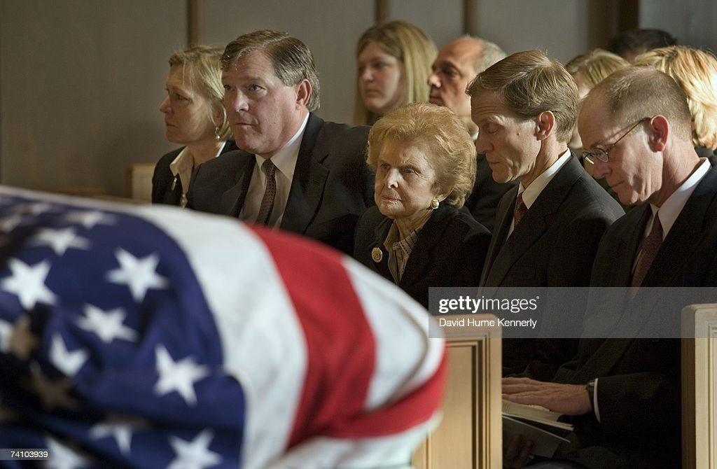 Former First Lady Betty Ford and her children Susan Ford Bales Jack Ford Mike Ford and Steve Ford at Grace Episcopla Church for Gerald Ford's funeral...