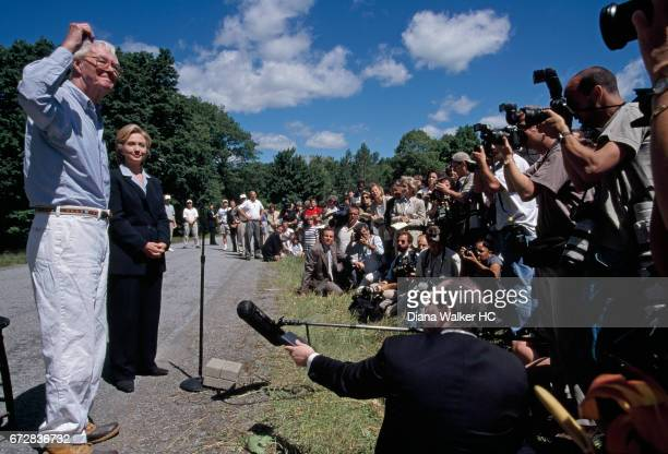 Former First Lady Hillary Rodham Clinton and New York Senator Daniel Patrick Moynihan are photographed at a news conference on July 7 1999 on...