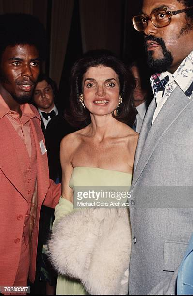 Former First Lady Jacqueline Kennedy attends a campaign event for her brotherinlaw Robert F Kennedy alongside his bodyguard former NFL player Rosey...
