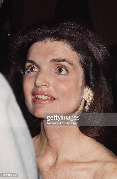 Former First Lady Jacqueline Kennedy attends a campaign event for her brotherinlaw Robert F Kennedy circa 1968