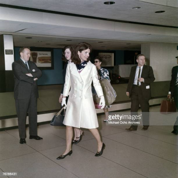 Former First Lady Jacqueline Kennedy walks through an airport circa the late1960s in Florida