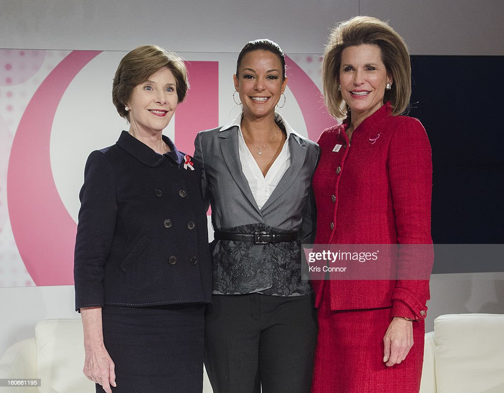 Former First Lady Laura Bush, actress Eva LaRue, and Nancy Goodman Brinker, founder and CEO of Susan G. Komen for the Cure, pose for a photo during the 2013 Susan G. Komen Global Women's Cancer Summit on World Cancer day at the Fairmont Hotel on February 4, 2013 in Washington, DC.