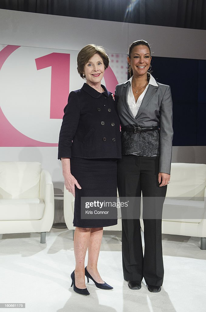 Former First Lady <a gi-track='captionPersonalityLinkClicked' href=/galleries/search?phrase=Laura+Bush&family=editorial&specificpeople=125185 ng-click='$event.stopPropagation()'>Laura Bush</a> and actress Eva LaRue poses for a photo during the 2013 Susan G. Komen Global Women's Cancer Summit on World Cancer day at the Fairmont Hotel on February 4, 2013 in Washington, DC.