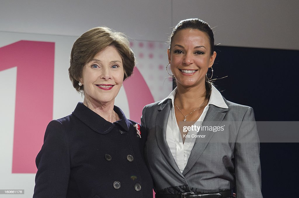 Former First Lady Laura Bush and actress Eva LaRue poses for a photo during the 2013 Susan G. Komen Global Women's Cancer Summit on World Cancer day at the Fairmont Hotel on February 4, 2013 in Washington, DC.
