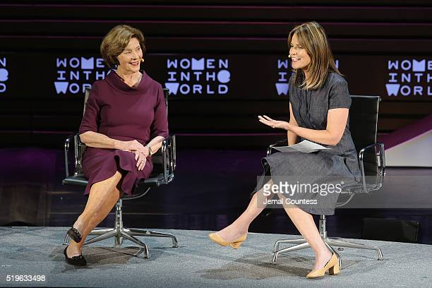 Former First Lady Laura Bush and journalist Savannah Guthrie speak onstage at Mother/Daughter Dynasty Two Generations of the Bush Family during Tina...