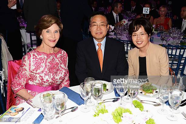 Former First Lady Laura Bush and YK Kim President CEO Samsung Electronics North America attend the Samsung's Annual Hope for Children gala at the...