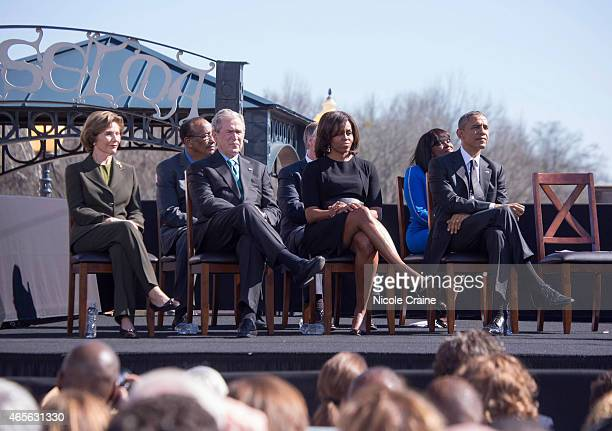 Former first lady Laura Bush Former US President George W Bush first lady Michelle Obama and US President Barack Obama attend 50th Anniversary of...