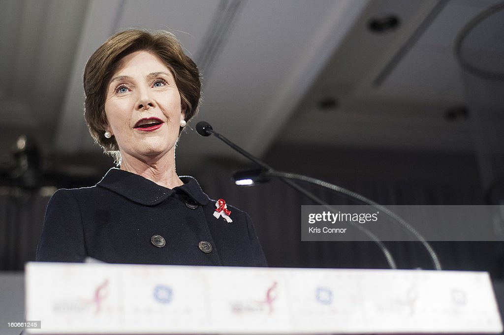 Former First Lady <a gi-track='captionPersonalityLinkClicked' href=/galleries/search?phrase=Laura+Bush&family=editorial&specificpeople=125185 ng-click='$event.stopPropagation()'>Laura Bush</a> speaks during the 2013 Susan G. Komen Global Women's Cancer Summit on World Cancer day at the Fairmont Hotel on February 4, 2013 in Washington, DC.