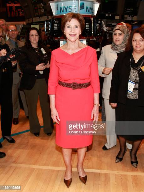 Former First Lady Laura Bush tours the trading floor at the New York Stock Exchange on February 21 2012 in New York City