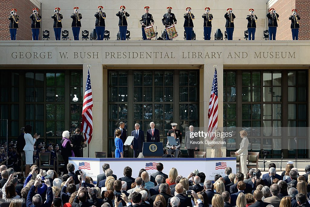 Former first lady Laura Bush, U.S. President Barack Obama, former President George W. Bush, former President Bill Clinton, former President George H.W. Bush and former President Jimmy Carter attend the opening ceremony of the George W. Bush Presidential Center April 25, 2013 in Dallas, Texas. The Bush library, which is located on the campus of Southern Methodist University, with more than 70 million pages of paper records, 43,000 artifacts, 200 million emails and four million digital photographs, will be opened to the public on May 1, 2013. The library is the 13th presidential library in the National Archives and Records Administration system.