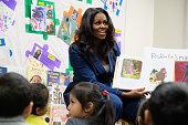 Michelle Obama Visits Students At Para Los Niños School...