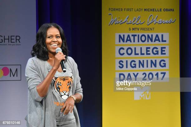 Former First Lady Michelle Obama speaks onstage during MTV's 2017 College Signing Day With Michelle Obama at The Public Theater on May 5 2017 in New...