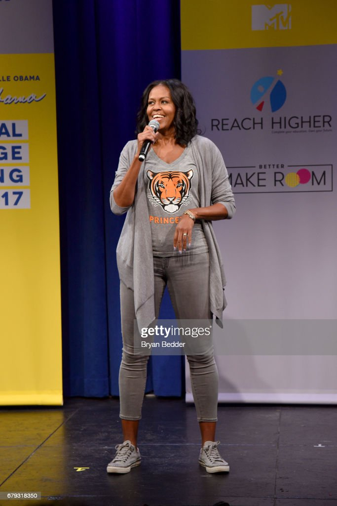 Former First Lady Michelle Obama speaks onstage during MTV's 2017 College Signing Day With Michelle Obama at The Public Theater on May 5, 2017 in New York City.