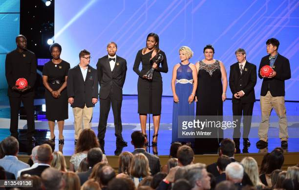 Former First Lady Michelle Obama speaks onstage with Special Olympics athletes at The 2017 ESPYS at Microsoft Theater on July 12 2017 in Los Angeles...