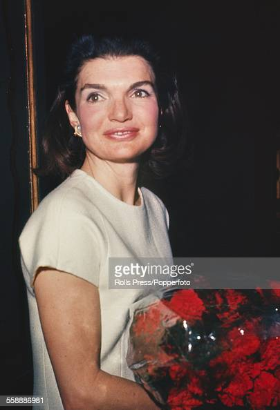 Former First Lady of the United States Jacqueline Kennedy pictured holding a bouquet of flowers during a visit to Rome Italy in 1966