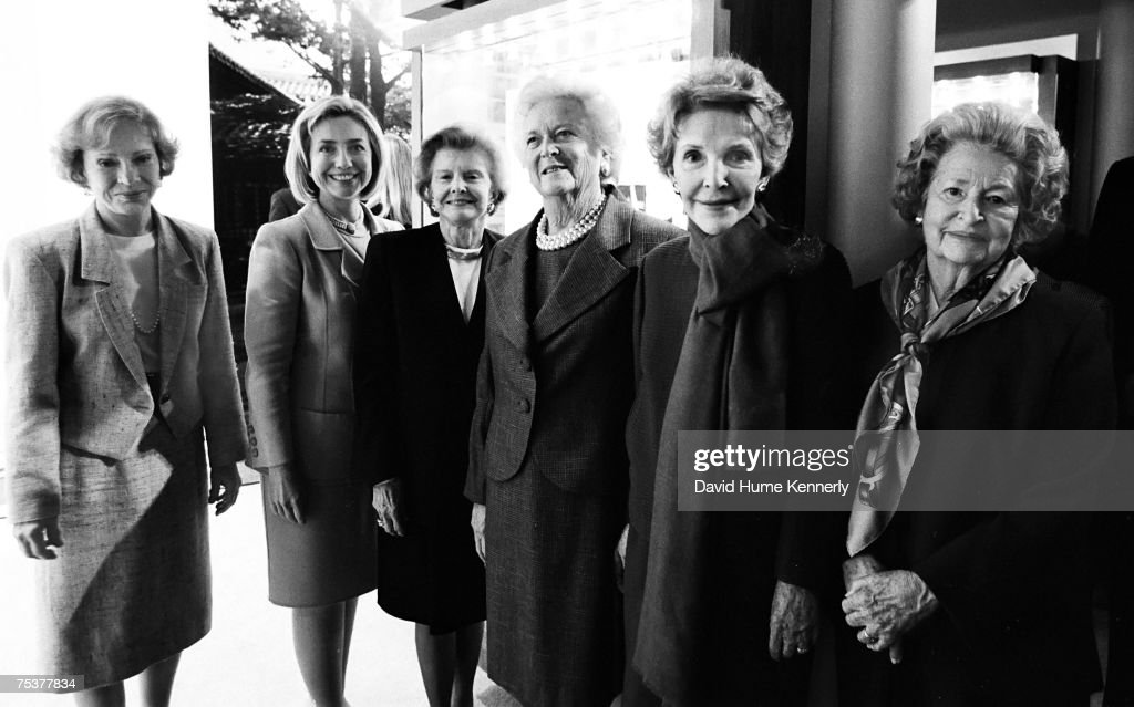 Former First Lady Rosalynn Carter, First Lady Hillary Rodham Clinton, Former First Ladies Betty Ford, Barbara Bush, <a gi-track='captionPersonalityLinkClicked' href=/galleries/search?phrase=Nancy+Reagan&family=editorial&specificpeople=93860 ng-click='$event.stopPropagation()'>Nancy Reagan</a>, and Lady Bird Johson at the dedication of the George H.W. Bush Presidential Library on November 6, 1997 in College Station, Texas.