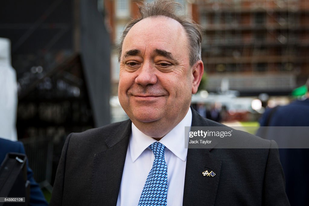 Former First Minister of Scotland <a gi-track='captionPersonalityLinkClicked' href=/galleries/search?phrase=Alex+Salmond&family=editorial&specificpeople=857688 ng-click='$event.stopPropagation()'>Alex Salmond</a> before a television interview on College Green in Westminster on June 27, 2016 in London, England. British Prime Minister David Cameron chaired an emergency Cabinet meeting this morning, after Britain voted in a referendum to leave the European Union. Various members of Labour's shadow cabinet have today quit over an apparent lack of confidence in Jeremy Corbyn's leadership of the party during the referendum campaign.