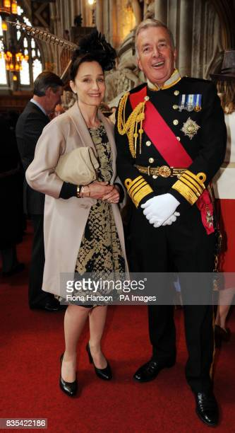 Former First Sea Lord Lord West with actress Kristin Scott Thomas at a Guildhall reception following a service at St Paul's Cathedral to mark the...
