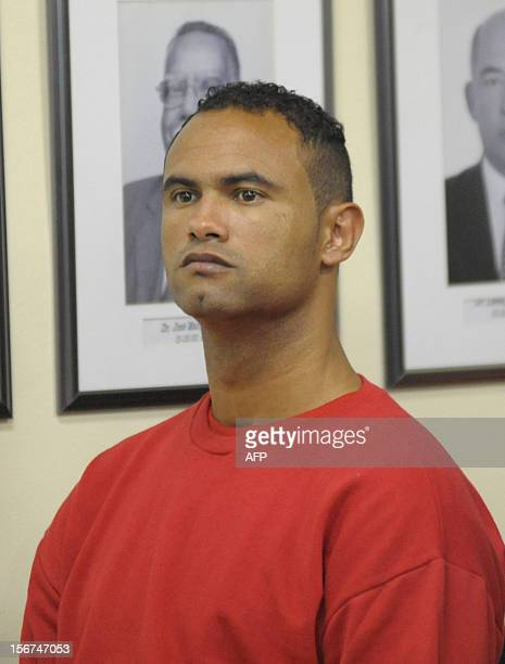 Former Flamengo football club goalie Bruno Fernandes de Souza during his trial charged with the murder of his wife Elizia Samudi on November 20 2012...