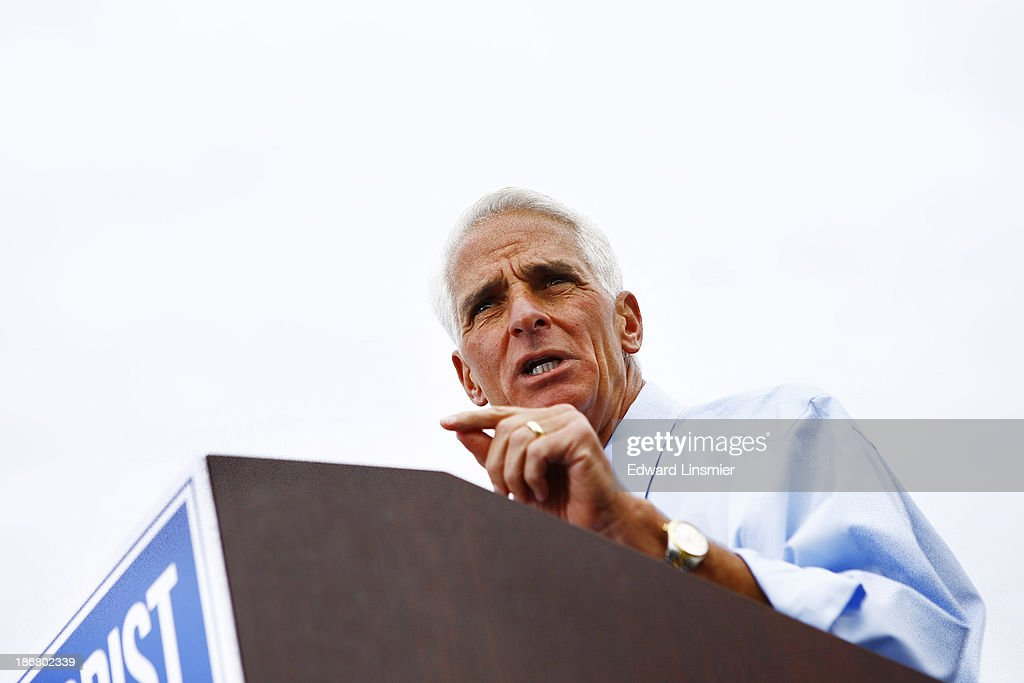 Former Florida Gov. <a gi-track='captionPersonalityLinkClicked' href=/galleries/search?phrase=Charlie+Crist&family=editorial&specificpeople=753543 ng-click='$event.stopPropagation()'>Charlie Crist</a> announces that he will run for Governor as a Democrat on November 4, 2013 at Albert Whitted Park in St. Petersburg, Florida. Crist served as Florida's 44th governor as a Republican from 2007 to 2011.