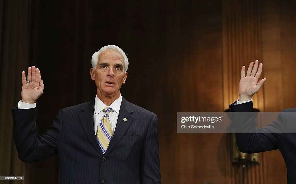Former Florida Gov. Charlie Crist is sworn in before testifying during a Senate Judiciary Committee hearing on voting rights at the Dirksen Senate Office Building on Capitol Hill December 19, 2012 in Washington, DC. According to the committee, the hearing focused on Americans' access to the voting booth 'and the continuing need for protections against efforts to limit or suppress voting.'