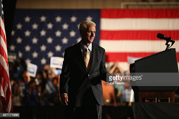 Former Florida Governor and now Democratic gubernatorial candidate Charlie Crist takes to the podium to speak during a campaign event with US Vice...