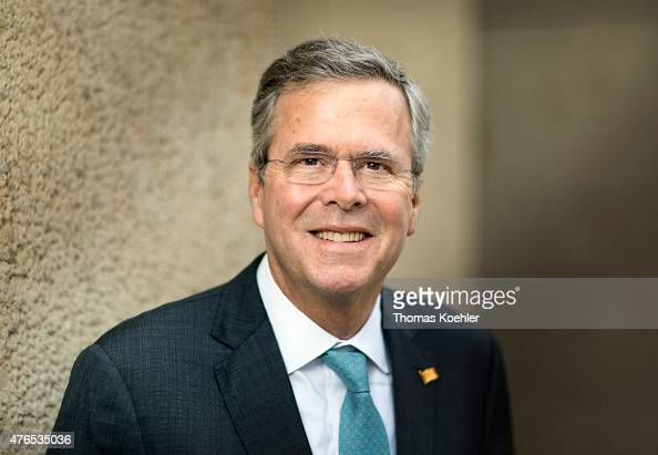 Former Florida Governor and possible Republican presidential candidate Jeb Bush poses for a photograph during his visit in Berlin on June 10 2015 in...