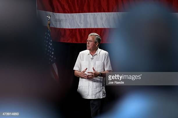 Former Florida Governor and potential Republican presidential candidate Jeb Bush speaks to supporters during a fundraising event at the Jorge Mas...