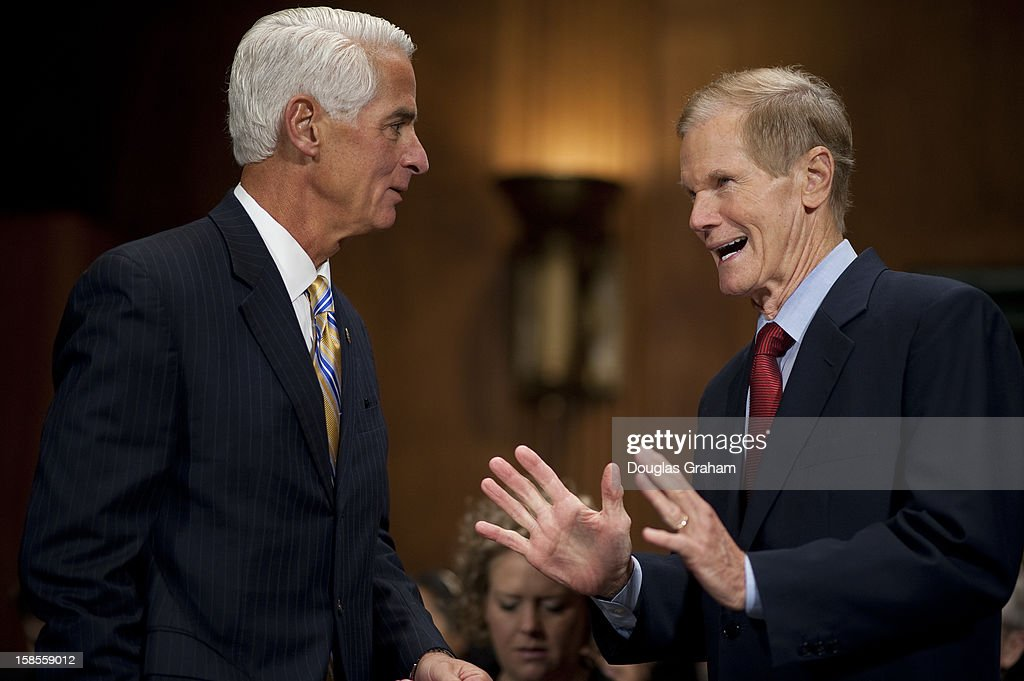 Former Florida Governor Charlie Crist, and Sen. Bill Nelson, D-Fl., before the start of the TopicFull committee hearing on 'The State Of The Right To Vote After The 2012 Election,' focusing on American's access to the voting booth and the continuing need for protections against efforts to limit or suppress voting.