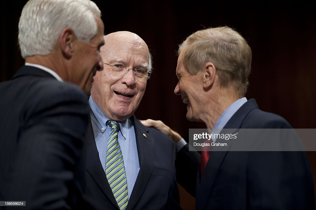 Former Florida Governor Charlie Crist, Chairman Patrick Leahy, D-VT., and Sen. Bill Nelson, D-Fl., before the start of the TopicFull committee hearing on 'The State Of The Right To Vote After The 2012 Election,' focusing on American's access to the voting booth and the continuing need for protections against efforts to limit or suppress voting.