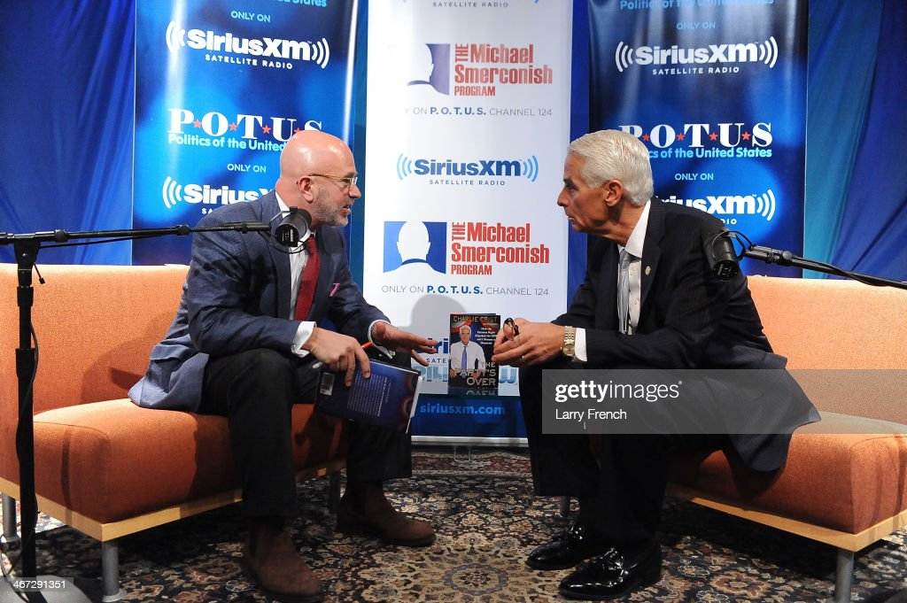 Former Florida governor <a gi-track='captionPersonalityLinkClicked' href=/galleries/search?phrase=Charlie+Crist&family=editorial&specificpeople=753543 ng-click='$event.stopPropagation()'>Charlie Crist</a> visits SiriusXM's 'Book Club With Michael Smerconish' to discuss his new book 'The Party's Over: How The Extreme Right Hijacked The GOP And I Became a Democrat' at SiriusXM Studio on February 6, 2014 in Washington, DC.