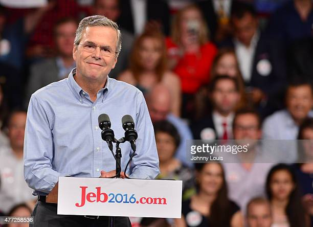 Former Florida Governor Jeb Bush on stage to announce his candidacy for the 2016 Republican presidential nomination at Miami Dade College Kendall...