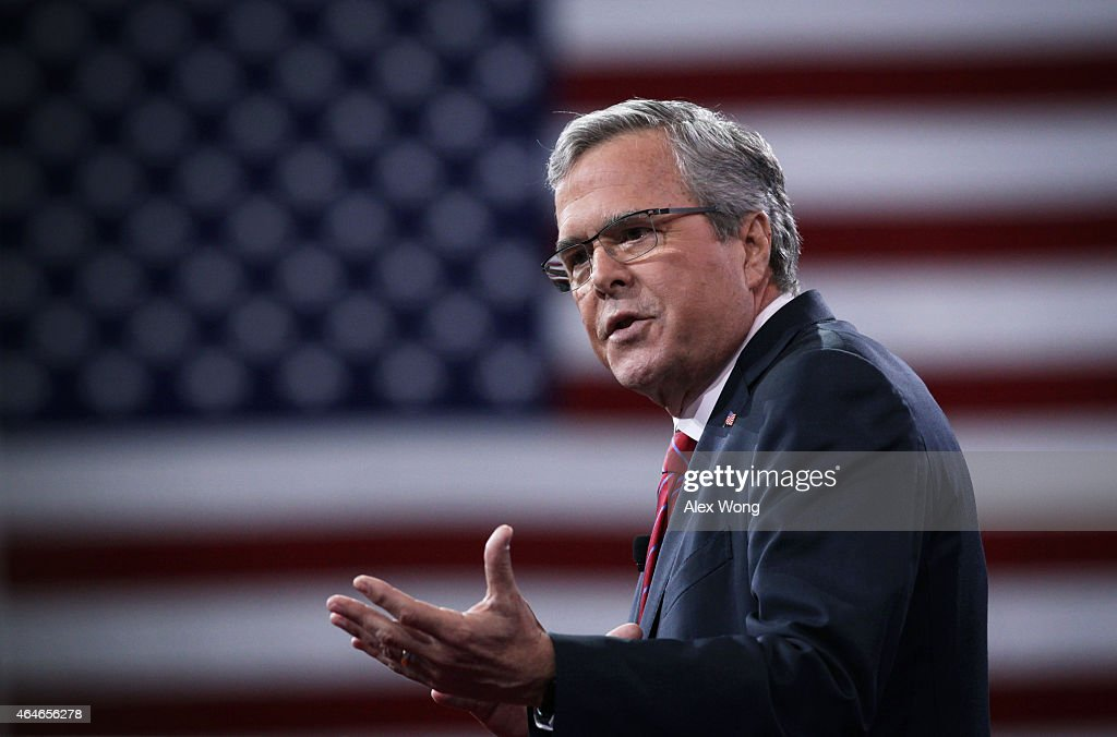 Former Florida governor Jeb Bush speaks at the 42nd annual Conservative Political Action Conference February 27 2015 in National Harbor Maryland...