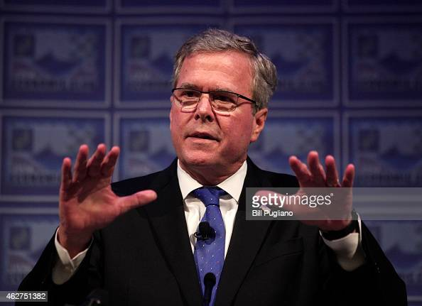 Former Florida Governor Jeb Bush speaks at the Detroit Economic Club February 4 2015 in Detroit Michigan Bush the son of former republican President...