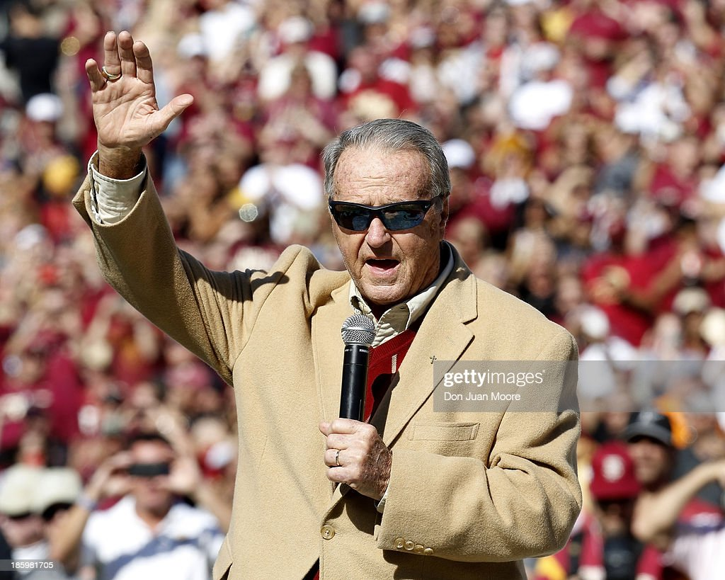 Former Florida State Head Coach <a gi-track='captionPersonalityLinkClicked' href=/galleries/search?phrase=Bobby+Bowden&family=editorial&specificpeople=226728 ng-click='$event.stopPropagation()'>Bobby Bowden</a> speaks during a ceremony before the game against North Carolina State Wolfpack at <a gi-track='captionPersonalityLinkClicked' href=/galleries/search?phrase=Bobby+Bowden&family=editorial&specificpeople=226728 ng-click='$event.stopPropagation()'>Bobby Bowden</a> Field at Doak Campbell Stadium on October 26, 2013 in Tallahassee, Florida. Bowden, who coached the Seminoles from 1976-2009 is the all-time leader in coaching victories in FBS with 377 wins. The 3rd ranked Florida State Seminoles defeated North Carolina State Wolfpack 49-17.