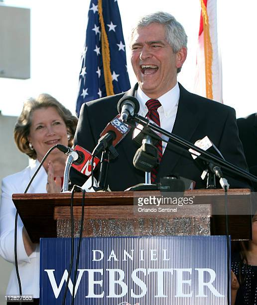 Former Florida state Senator Daniel Webster gets a cheering reception as he arrives with his wife Sandy to announce he is going to run against US Rep...