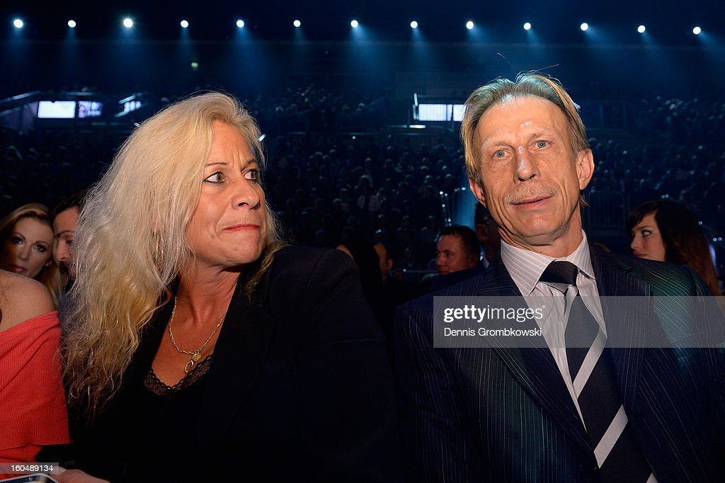 Former football coach Christoph Daum and his wife Angelica attend the IBF Middleweight Eliminator fight between Felix Sturm of Germany and Sam Soliman of Australia at ISS Dome on February 1, 2013 in Duesseldorf, Germany.