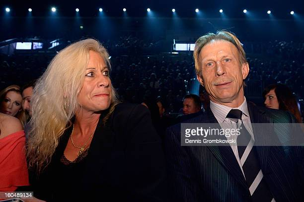 Former football coach Christoph Daum and his wife Angelica attend the IBF Middleweight Eliminator fight between Felix Sturm of Germany and Sam...
