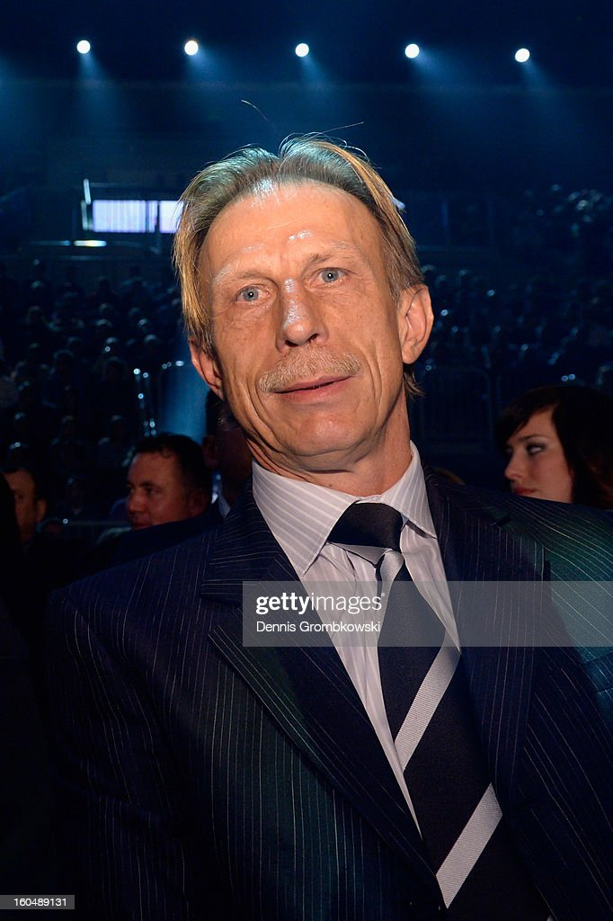 Former football coach Christoph Daum attends the IBF Middleweight Eliminator fight between Felix Sturm of Germany and Sam Soliman of Australia at ISS Dome on February 1, 2013 in Duesseldorf, Germany.