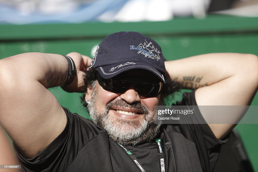 Former football player and coach Diego Armando Maradona enjoys the second Davis Cup semi-final match between Monaco and Berdych of Argentina and Czech Republic at Mary Ter‡n de Weiss Stadium on September 14, 2012 in Buenos Aires, Argentina.