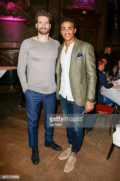Former football player Arne Friedrich and Cliff Goncalo GQ Gentleman 2016 attend the La Martina x GQ PreDinner on November 9 2016 in Berlin Germany