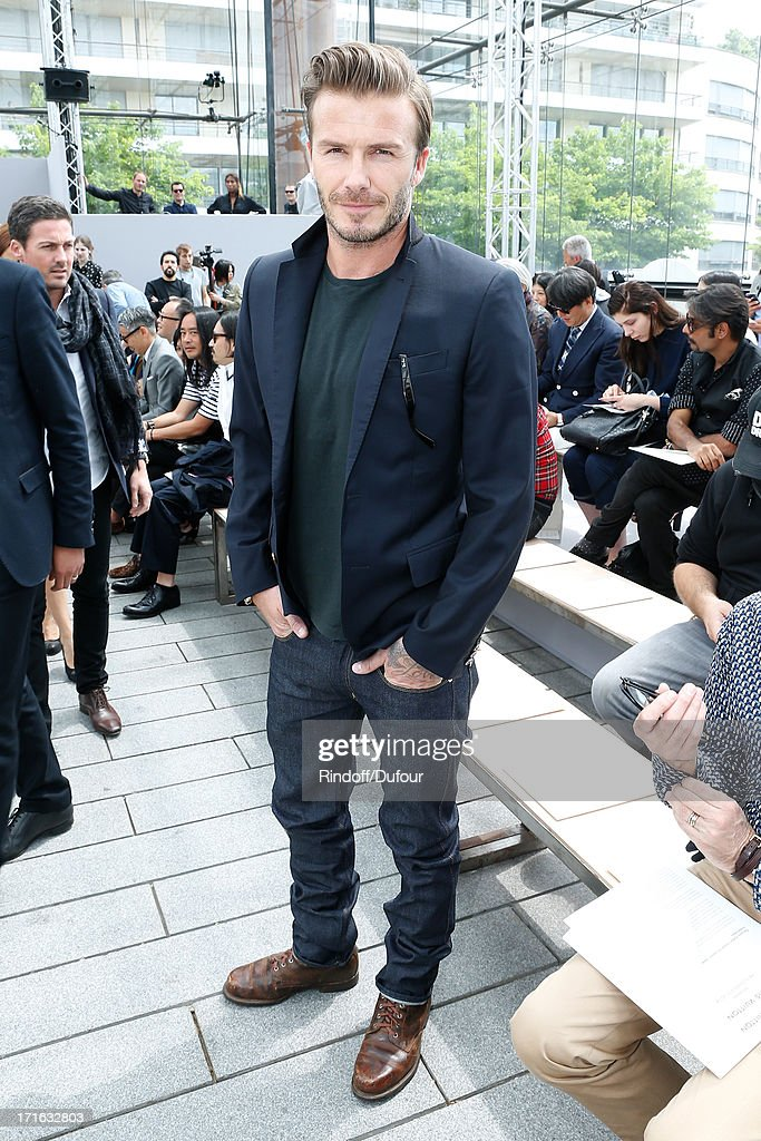Former football player <a gi-track='captionPersonalityLinkClicked' href=/galleries/search?phrase=David+Beckham&family=editorial&specificpeople=158480 ng-click='$event.stopPropagation()'>David Beckham</a> attends Louis Vuitton Menswear Spring/Summer 2014 Show As Part Of The Paris Fashion Week, held at Andre Citroen Green House on June 27, 2013 in Paris, France.
