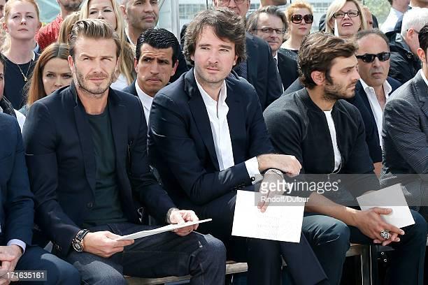 Former football player David Beckham general manager of Berluti Antoine Arnault and actor Pio Marmai attend Louis Vuitton Menswear Spring/Summer 2014...