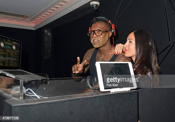 Former football player Djibril Cisse performs during Djibril Cisse DJ Party At The Calavados Day 5 The 68th Annual Cannes Film Festival on May 17...