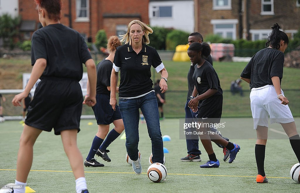 Former football player Faye White takes part in activities during The FA's Sir Bobby Robson National Football Day at Kings College Sports Ground on August 10, 2013 in London, England.